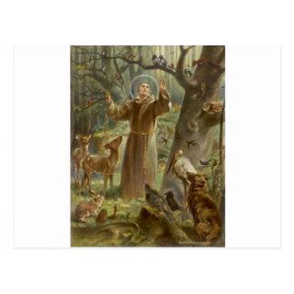 Cartão Postal St Francis de Assisi cercou por animais
