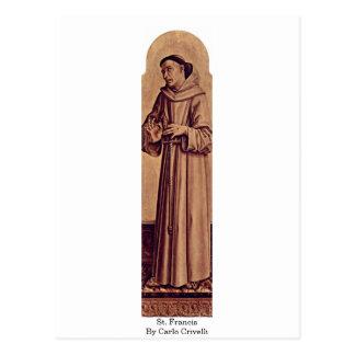 Cartão Postal St Francis por Carlo Crivelli