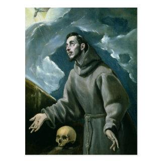 Cartão Postal St Francis que recebe os Stigmata (óleo em canvas)