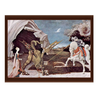 Cartão Postal St George que luta o dragão por Uccello Paolo