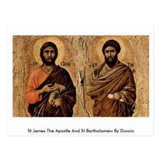 Cartão Postal St James o apóstolo e o St Bartholomew por Duccio