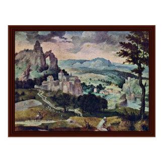 Cartão Postal St Jerome em uma paisagem por Massys Cornelis