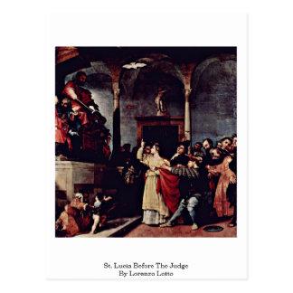 Cartão Postal St Lucia antes do juiz por Lorenzo Lotto