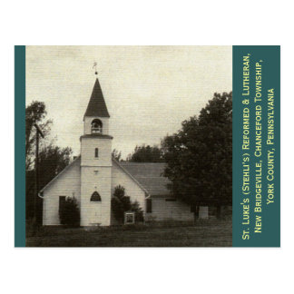 Cartão Postal St Luke reformado & igreja luterana, York Co, PA