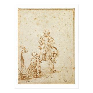 Cartão Postal St Martin e o mendigo (caneta & tinta no papel)