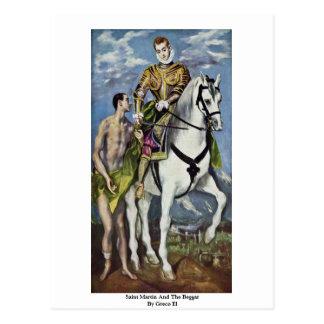 Cartão Postal St Martin e o mendigo pelo EL de Greco
