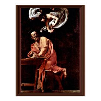 Cartão Postal St Matthew e o anjo por Michelangelo Merisi