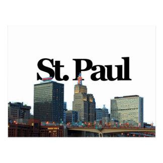 Cartão Postal St Paul, skyline de Minnisota com o St Paul no céu