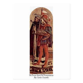 Cartão Postal St Peter e St.Venetianus por Carlo Crivelli