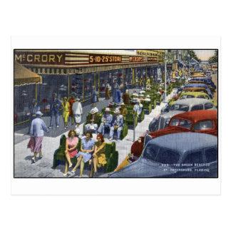 """Cartão Postal St Petersburg 1949 Florida """"que o verde Benches """""""
