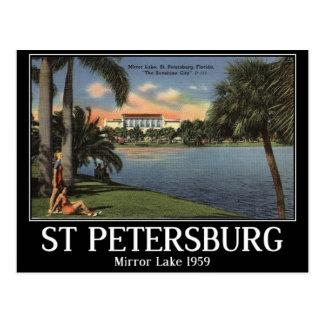 Cartão Postal St Petersburg, Florida, espelho Lago, 1959,