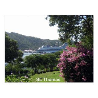 Cartão Postal St Thomas e navio de cruzeiros
