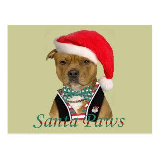 Cartão Postal Staffordshire Terrier americano um design do Natal