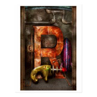 Cartão Postal Steampunk - alfabeto - R é para a arma de raio