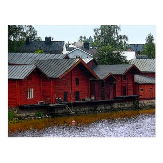Cartão Postal Storehouses vermelhos em Porvoo, Finlandia