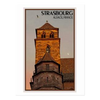 Cartão Postal Strasbourg - por do sol da igreja