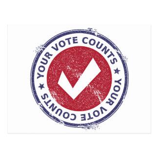 Cartão Postal suas contagens do voto