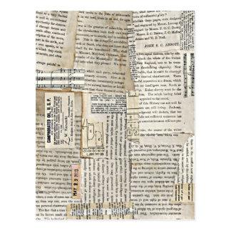 Cartão Postal Sucatas de papel do vintage - vertical