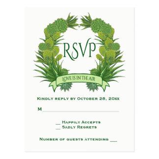 Cartão Postal Succulents florais & cacto do verde RSVP do