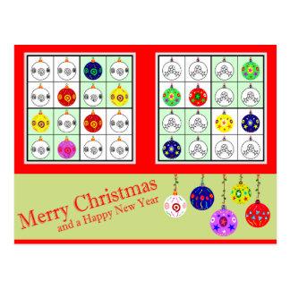 Cartão Postal Sudoku colorido para o Natal