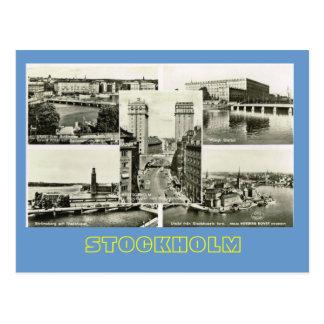 Cartão Postal Suecia do vintage, multiview de Éstocolmo