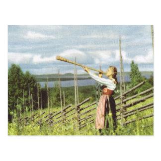 Cartão Postal Suecia do vintage, traje nacional