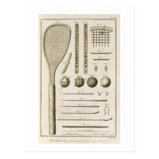 Cartão Postal Sugestões das raquetes e do bilhar de tênis, 'do