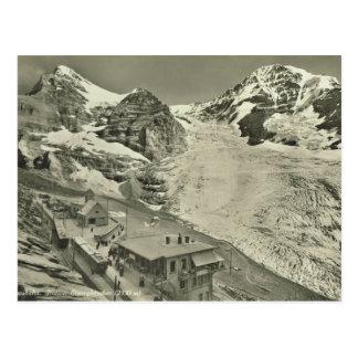 Cartão Postal Suiça do vintage, geleira de Jungfrau