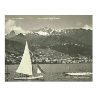 Cartão Postal Suiça do vintage, Montreux, lago Genebra