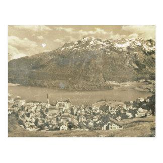 Cartão Postal Suiça do vintage, St Moritz e lago 1906