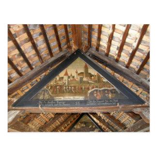 Cartão Postal Suiça, lucerna, pinturas da ponte da capela