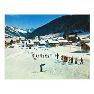 Cartão Postal Suiça Morgins do vintage, Ecole de Esqui