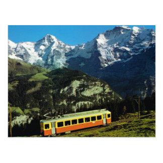 Cartão Postal Suiça, trem a Jungfraujoch, a parte superior de