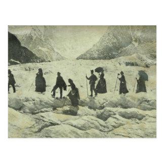 Cartão Postal Suiça, turistas na geleira de Jungfrau,