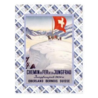 Cartão Postal Suíço Raulway Jungfrau Jungfraujoch do vintage