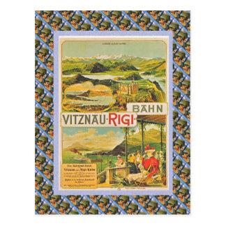 Cartão Postal Suíço Raulway Vitznau Rigi Bahn do vintage