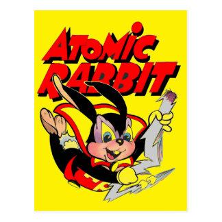 Cartão Postal Super-herói animal peludo engraçado do coelho