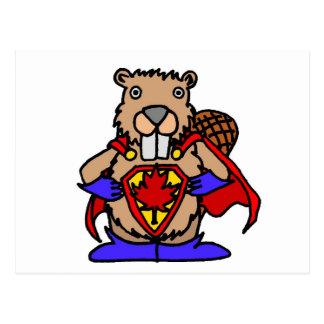 Cartão Postal Super-herói canadense do castor