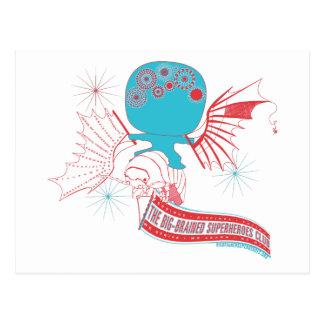 Cartão Postal Super-herói Grande-Cerebrado da Vinci que voa o