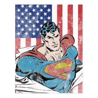 Cartão Postal Superman & bandeira dos E.U.