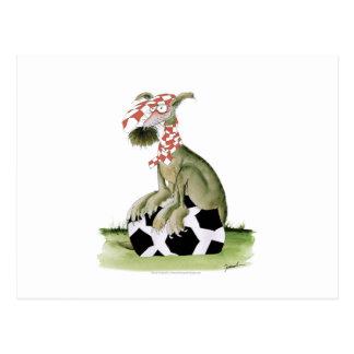 Cartão Postal suporte feliz do cão do futebol dos vermelhos
