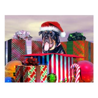 Cartão Postal Surpresa do Natal de Rottweiler
