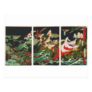 Cartão Postal Susano que massacra Yamata-nenhuns-Orochi 1870s do