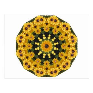 Cartão Postal Susans de olhos pretos, mandala floral