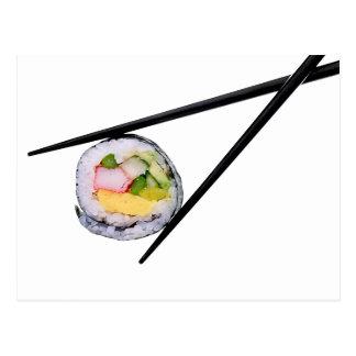 Cartão Postal Sushi e chopsticks pretos sushi, chopsticks, ric