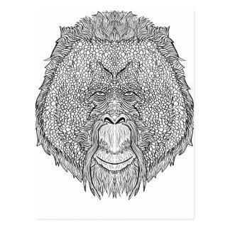 Cartão Postal T do macaco do orangotango - coloração do estilo