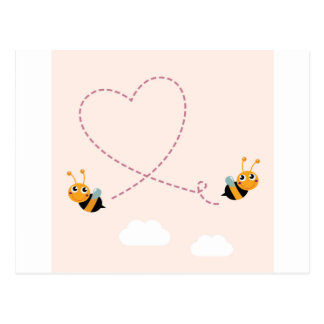 Cartão Postal T-shirt dos DESENHISTAS com abelhas do amor