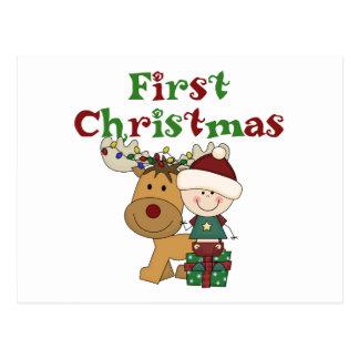 Cartão Postal T-shirt e presentes do Natal da rena primeiros