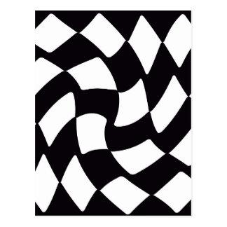 Cartão Postal Tabuleiro de damas entortado preto e branco