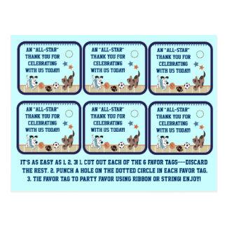 Cartão Postal Tag All-star do favor de partido do chá de fraldas